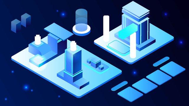 2.5d technology future business blue vector illustration, 2.5d, 2.5d, 25d illustration image