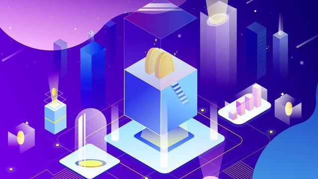 2 5dキャンディーカラーの未来の金融技術 イラスト素材