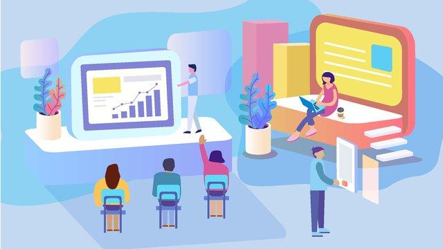 25d gradient business office scene fresh and simple vector illustration llustration image illustration image