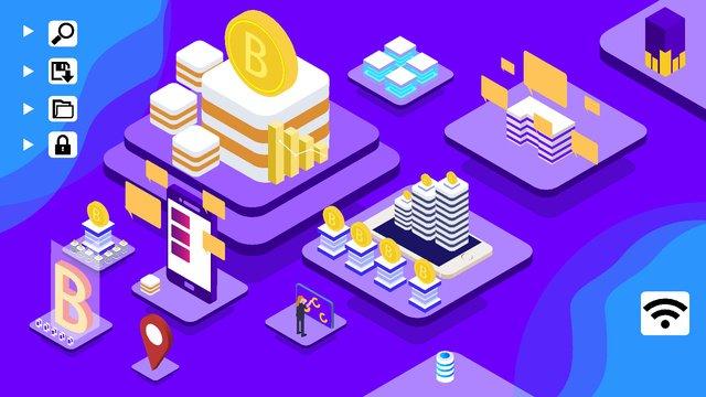 2.5d bitcoin business office finance vector illustration, 2.5d, Computer, The Internet illustration image
