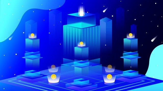 Original illustration 2 5d financial technology office building llustration image