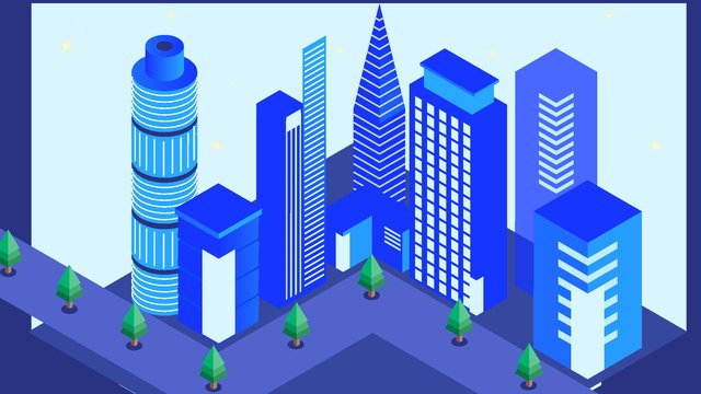2 5d future blue technology 고층 건물 금융 삽화 소재 삽화 이미지