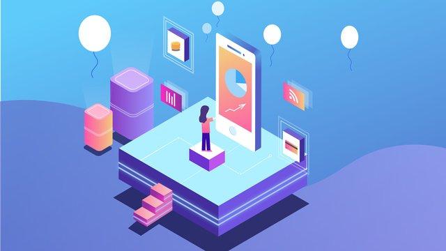 25d gradient technology Данные мобильного телефона Ресурсы иллюстрации