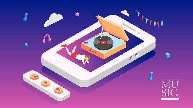 音楽携帯を聴くための2 5d音楽祭携帯電話app蓄音機 イラスト素材 イラスト画像