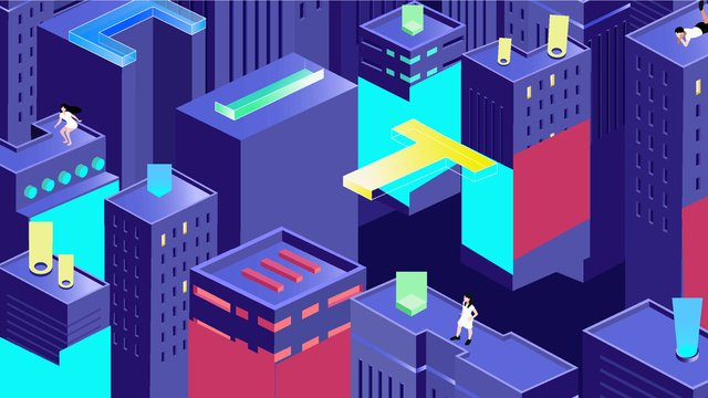 2 5d city life gradient high rise building technology letter llustration image