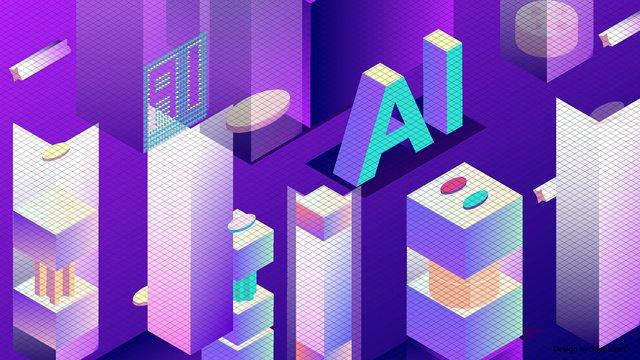 25d vector blue gradient technology Будущий искусственный интеллект ai Ресурсы иллюстрации