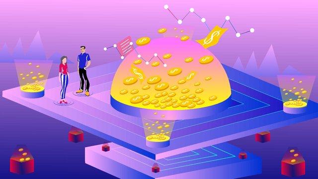 2.5d vector character gold coin financial technology business illustration, 2.5d, Vector Illustration, Gold illustration image