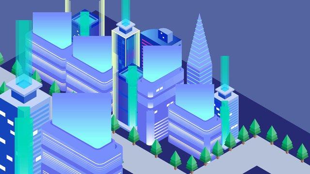 2.5d blue future technology sense building high-rise illustration, 2.5d, Vector, Technological Sense illustration image