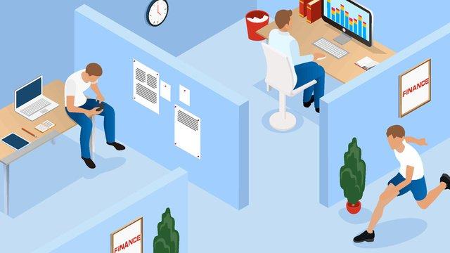 2.5d white collar work office to business finance, 2.5d, White Collar, Jobs illustration image