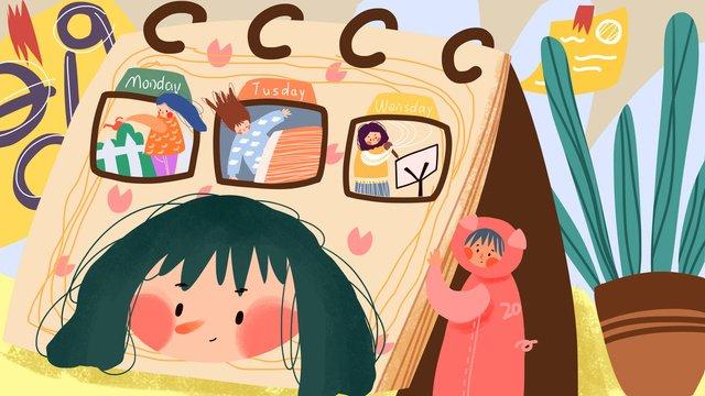 2019 творческий календарь милая иллюстрация Ресурсы иллюстрации