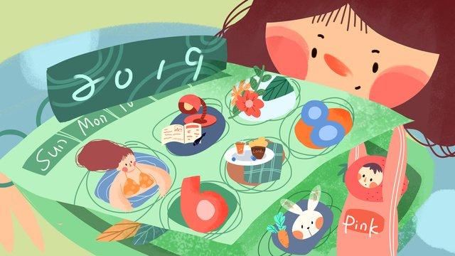 2019 творческая календарная иллюстрация Ресурсы иллюстрации