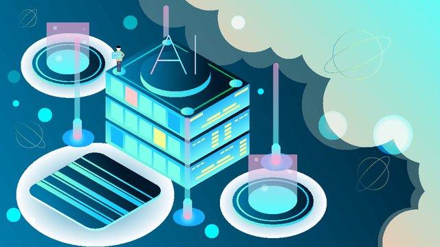 25d business ai artificial intelligence technology future vector illustration, 25d, 25d, 2.5d illustration image
