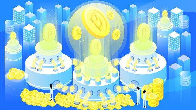 Оригинальная 25d Финансовая технология bitcoin glowing gradient illustration Ресурсы иллюстрации