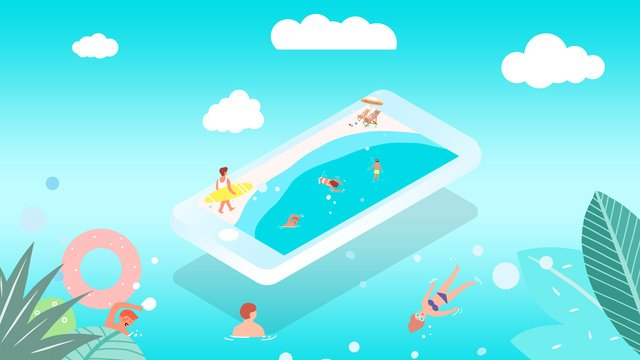 2.5d mobile phone swimming seaside tourism blue sky white clouds leaves, 25d, Mobile Phone, Swim illustration image