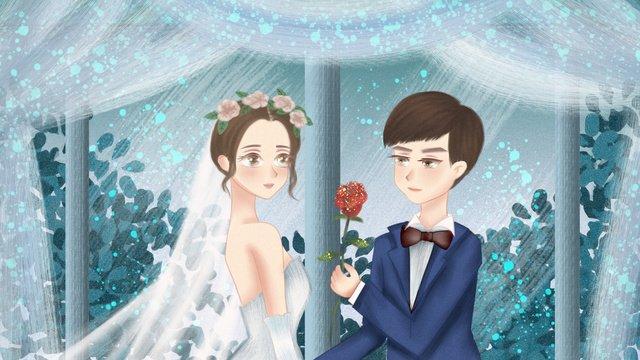 simple and fresh beautiful couple proposal wedding romantic love illustration llustration image illustration image
