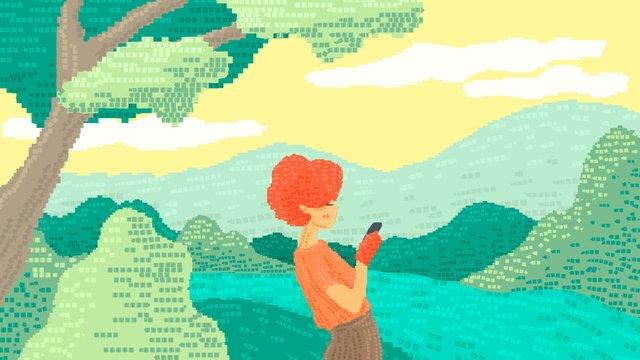 80s रेट्रो पिक्सेल पवन सरहद महिला मोबाइल फोन खेल रहा है चित्रण छवि चित्रण छवि