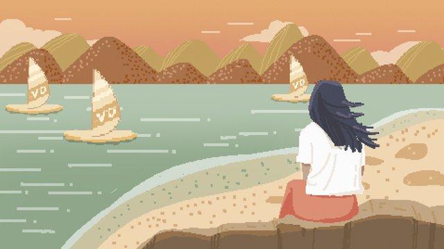 80 년대 레트로 픽셀 바람 이을 해변 그림 삽화 소재 삽화 이미지