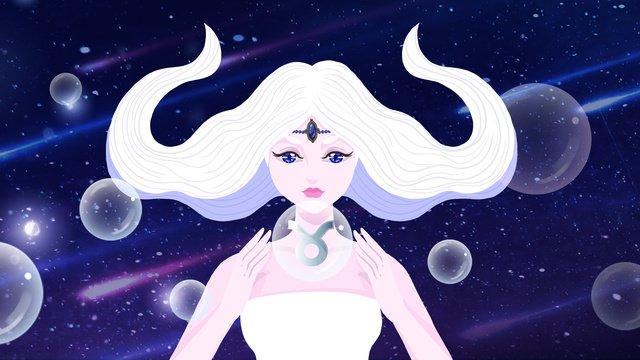 beautiful starry sky twelve constellation taurus illustrator llustration image