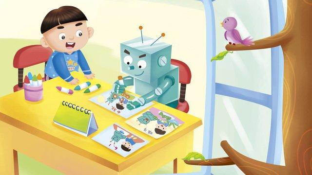 ロボット人工知能、未来の生活、放課後の子どもたちの活動 イラスト素材