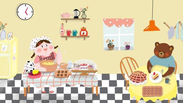 दोपहर की चाय मिठाई बेकिंग मज़ा प्यारा चित्रण चित्रण छवि
