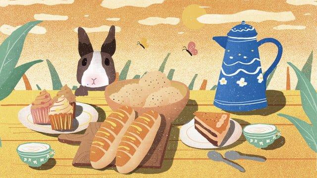 美味下午茶甜品插畫 插畫素材 插畫圖片