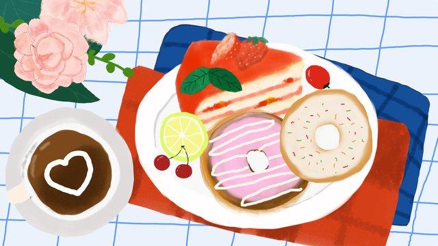 afternoon tea dessert cake donut fruit coffee llustration image illustration image