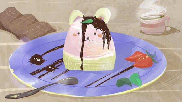 原創插畫下午茶甜點巧克力蛋糕 插畫素材 插畫圖片