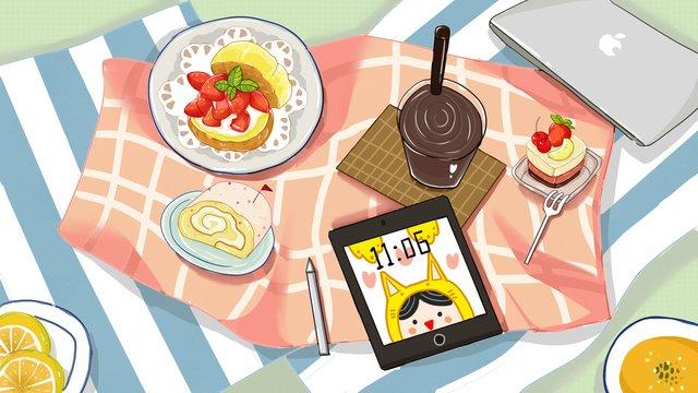 Оригинальный японский десерт послеобеденного чая Ресурсы иллюстрации