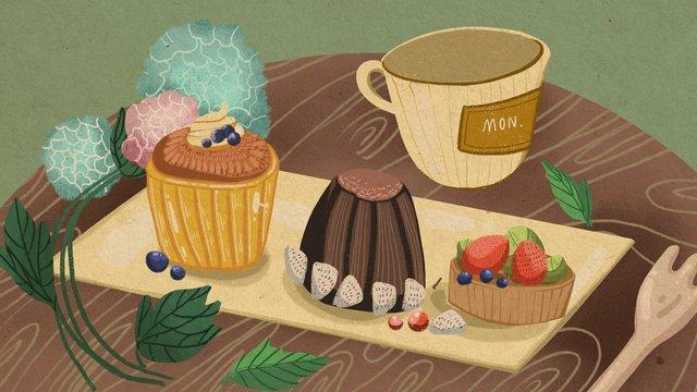 下午茶甜品唯美插畫 插畫素材 插畫圖片