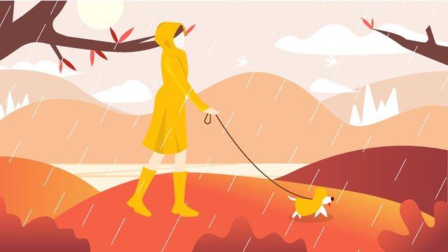湖のそばで犬を散歩する女の子 イラスト素材 イラスト画像
