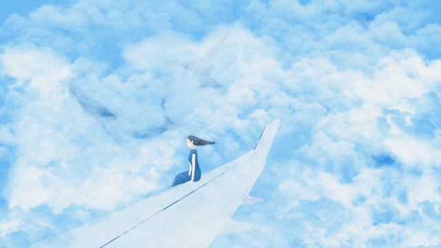 Air world sky Blue sky White clouds, Girl, Wing, Aircraft illustration image