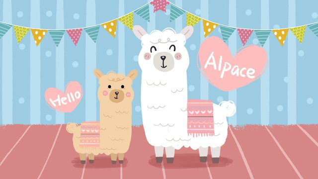 Cartoon wind cute little alpaca illustration, Alpaca, Animal, Cartoon illustration image