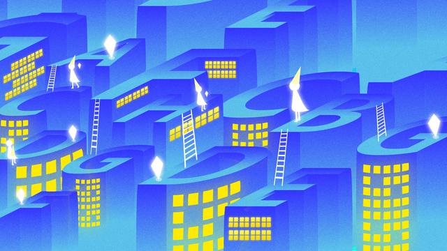 Letter 邂逅 city lights blue 2.5d illustration, Alphabet City, Letter, City illustration image