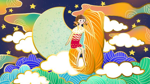 雲の月の少女のambilight邂デュレj イラスト素材 イラスト画像
