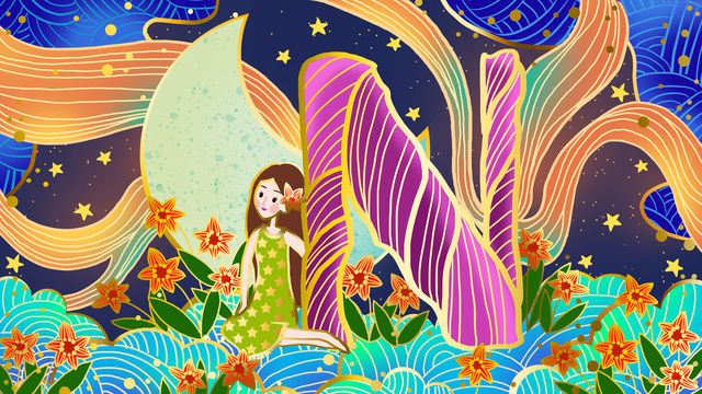 Girl with radiant 邂逅 letter n colorful clouds on the moon, Ambilight, 邂逅 Letter N, Colorful Cloud illustration image