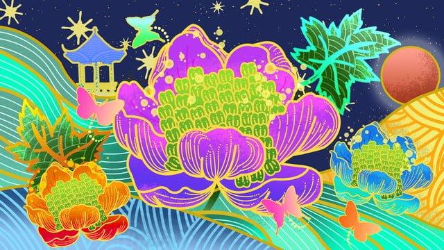 ambilight牡丹の花パビリオンスタームーンライト植物花 イラスト素材