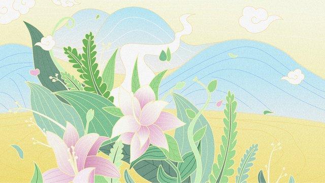 ambilight цветочное растение маленький свежий пейзаж Ресурсы иллюстрации