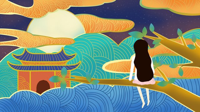 Ambilight girl Back view tree, Chinese Style, Cloud, Moon illustration image