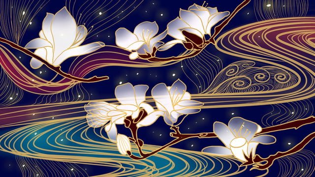 Ambilight ancient style zen magnolia water pattern hook line phnom penh illustration llustration image illustration image
