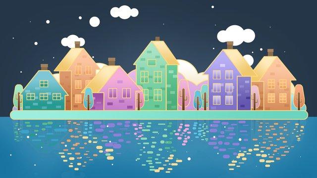 Original hand-painted illustration ambilight city building, Ambilight, Urban Building, City illustration image
