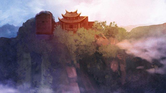 산 꼭대기에있는 고대 건물 삽화 소재 삽화 이미지