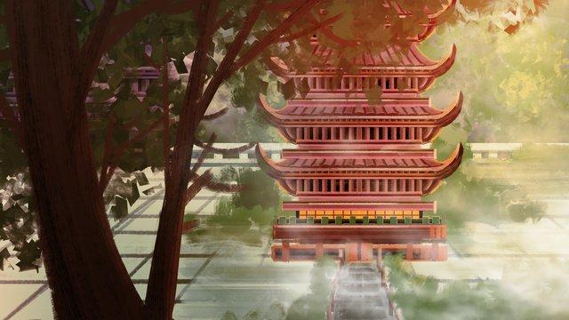 안개 속의 고대 건물 삽화 소재 삽화 이미지