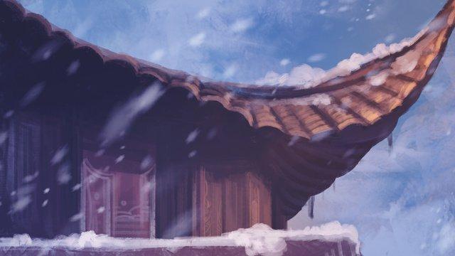 雪の中でシンプルで繊細でリアルな不動産イラスト イラストレーション画像
