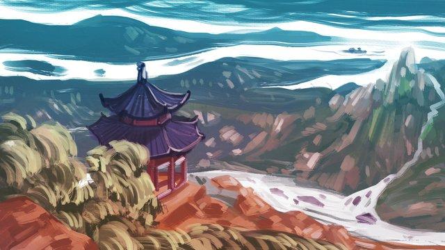 크리 에이 티브 낙서 파빌리온 taishan scenery illustration 삽화 소재 삽화 이미지