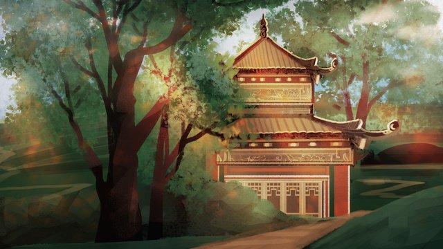 숲 속에있는 고대 건물들 삽화 소재 삽화 이미지