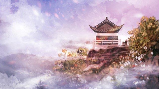 구름에 고대 건물 삽화 소재 삽화 이미지
