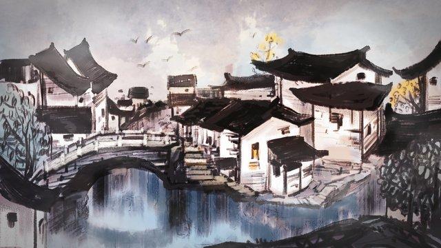 thị trấn nước trong sương mù Hình minh họa