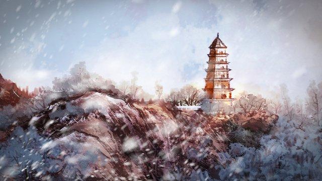 中国の雪の中のパゴダ山 イラスト素材