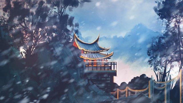 雪の中で古代の寺院 イラストレーション画像 イラスト画像