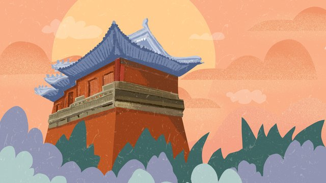 ancient architecture chinese style llustration image